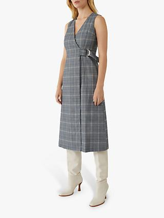 Warehouse Check Wrap Dress, Blue Pattern