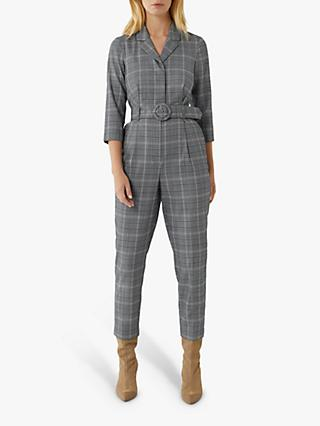 Warehouse Check Jumpsuit, Blue Pattern
