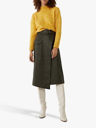 Oasis Tweed Knit Funnel Neck Jumper, Yellow