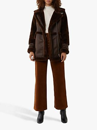 Warehouse Faux Fur Long Aviator Jacket, Brown
