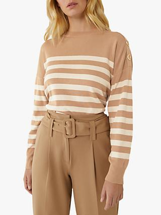 Warehouse Stripe Button Detail Jumper, Camel