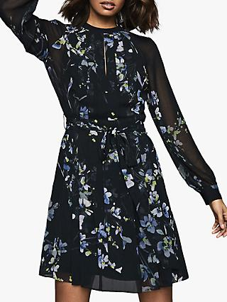 Reiss Hetty Floral Mini Dress, Navy/Violet