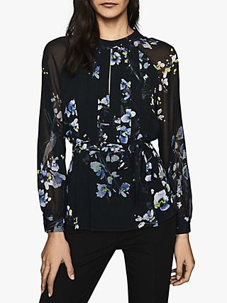 Reiss Robbie Floral Pleat Detail Shirt, Navy