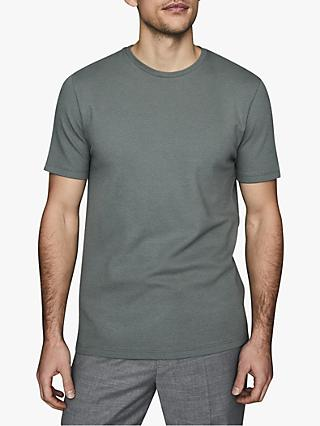 Reiss Heaton Textured Crew Neck T-Shirt, Sage