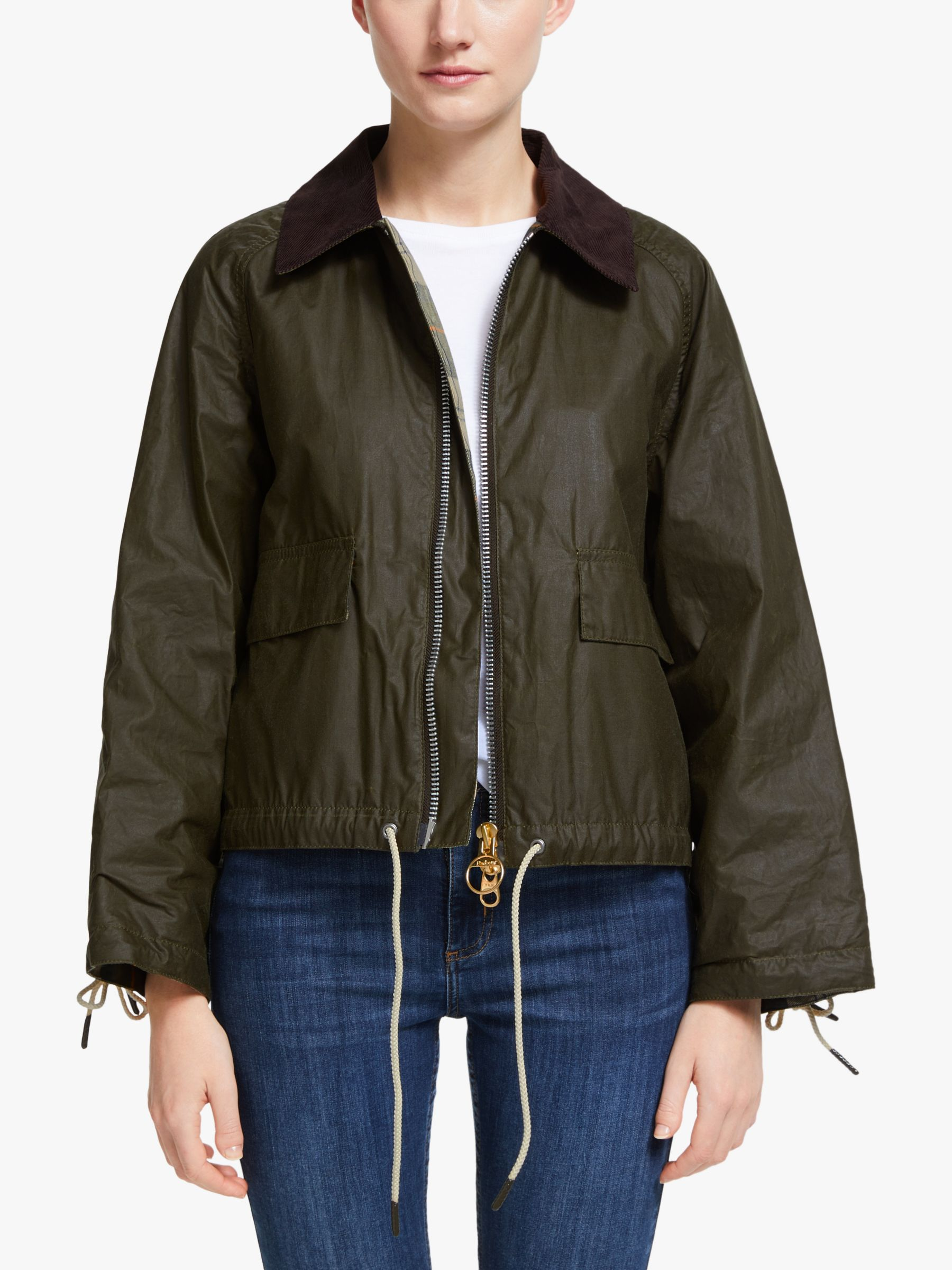 Barbour Barbour by ALEXACHUNG Margot Waxed Cotton Bomber Jacket, Archive Olive/Ancient