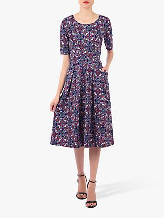 Jolie Moi Abstract Print Midi Dress, Purple/Multi