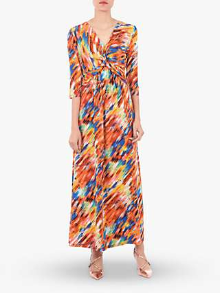 Jolie Moi Twist Front Maxi Dress, Orange Multi