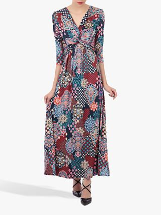 Jolie Moi Twist Front Maxi Dress, Navy Paisley