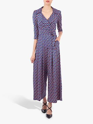 Jolie Moi Geometric Print Cross Over Jumpsuit, Blue/Multi
