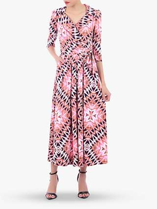 Jolie Moi Geometric Print Cross Over Maxi Dress, Pink/Multi