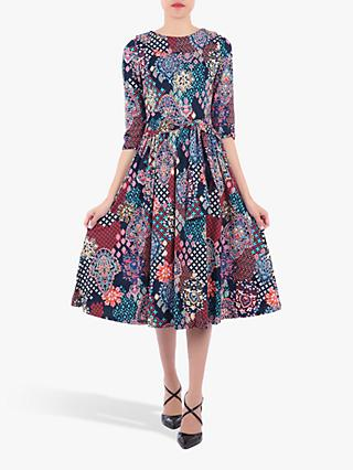 Jolie Moi Roll Collar Paisley Print Midi Dress, Paisley/Multi