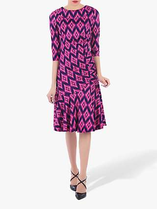 Jolie Moi Roll Collar Retro Ruched Shift Dress, Pink/Multi