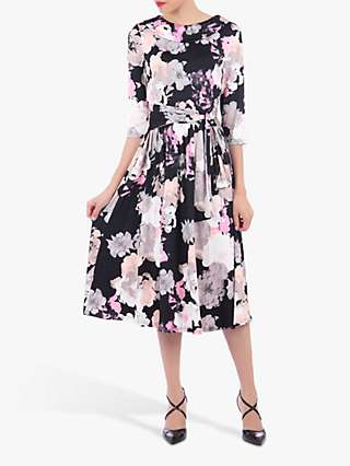 Jolie Moi Roll Collar Floral Print Midi Dress, Black