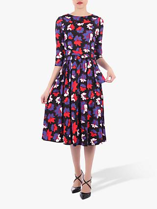 Jolie Moi Roll Collar Floral Print Midi Dress, Black/Multi