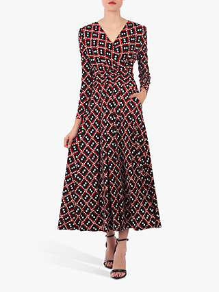 Jolie Moi Geometric Print Dress, Red/Multi