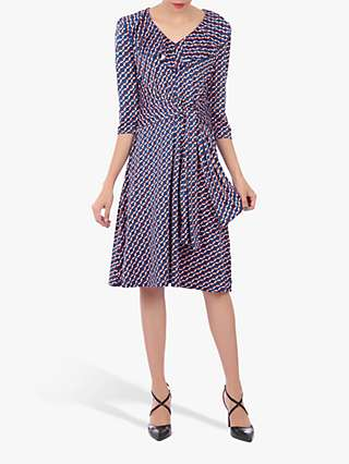 Jolie Moi Retro Geo Print Frilly Midi Dress, Blue