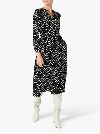 Hobbs Ginnie Spot Print Dress, Black/White
