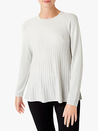 Hobbs Esme Metallic Yarn Crew Neck Jumper, Silver Grey