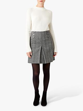 Hobbs Joy Check Wool Skirt, Black/Ivory