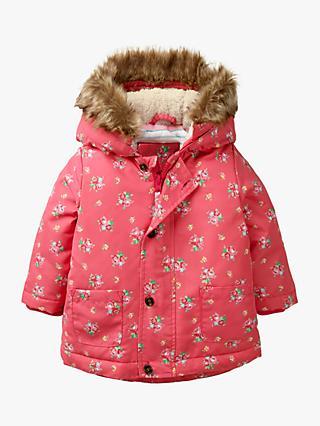 Mini Boden Baby Reversible Padded Coat, Dusty Pink at John