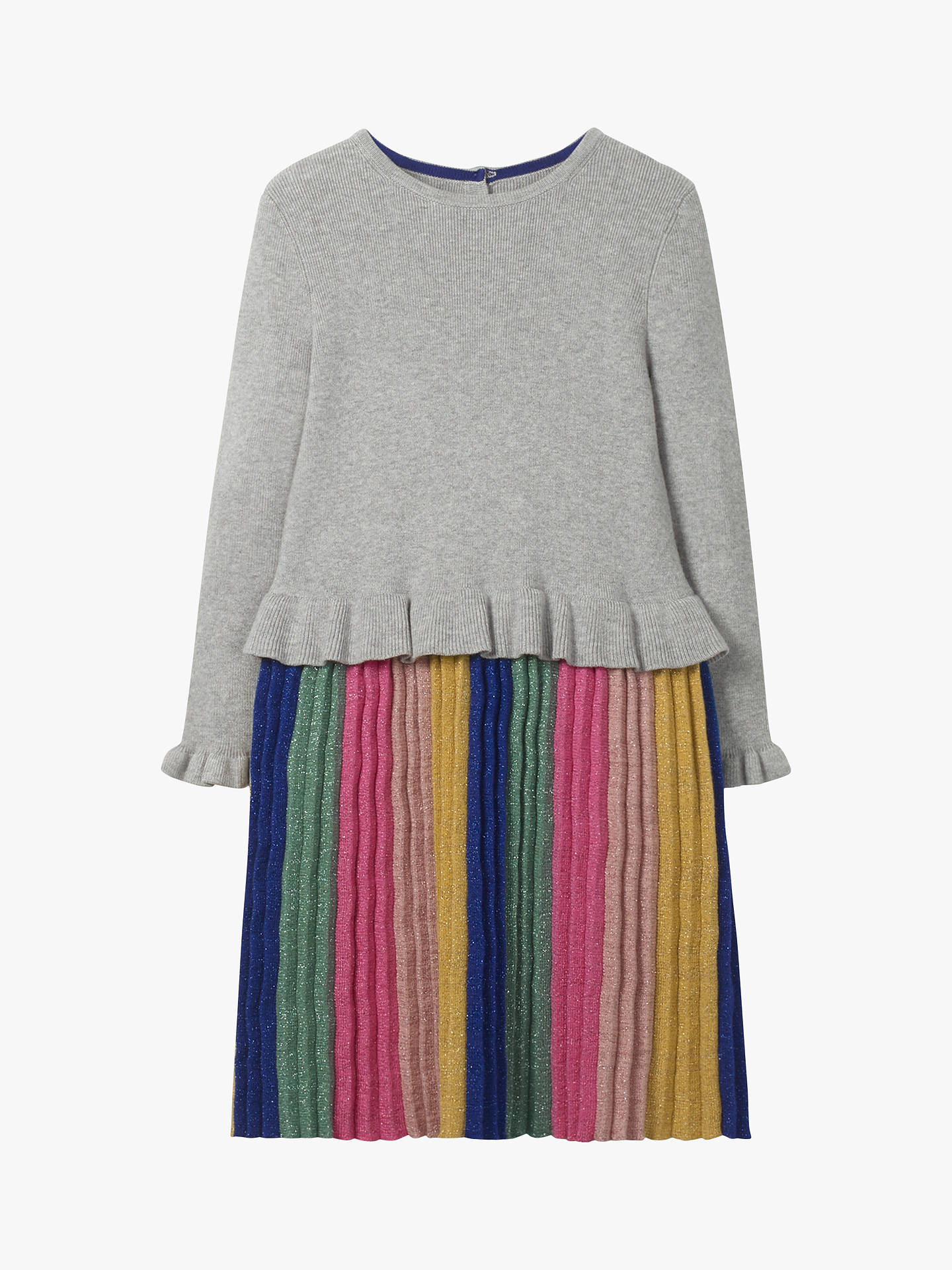 Mini Boden Girls' Sparkly Knitted Party Dress, Grey Marl Rainbow by Mini Boden