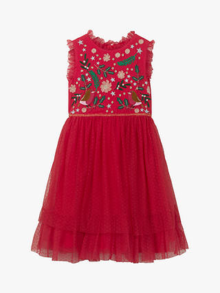 BODEN GIRLS PRETTY XMAS TULLE DRESS RED ROBIN BNWOT AGE 5-6