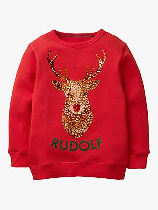 Mini Boden Boys' Festive Sequin Rudolph Sweatshirt, Poppadew Red