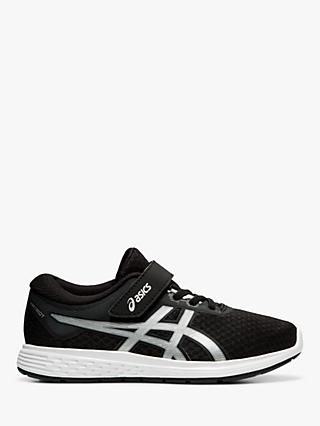 ASICS Children's Patriot 11 Riptape Running Shoes, Black/Silver