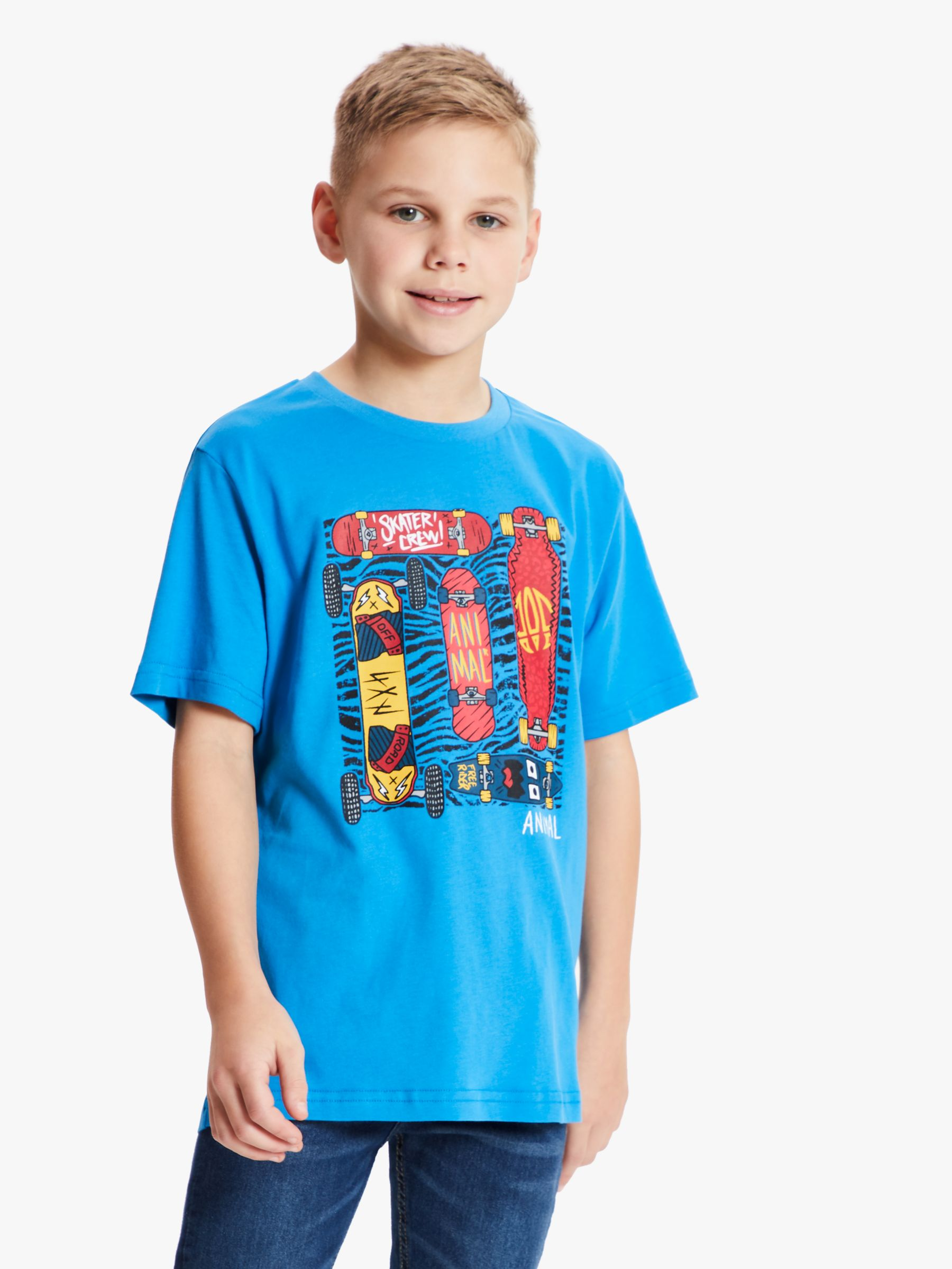 Animal Animal Boys' Board Print T-Shirt, Bright Blue