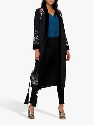 Monsoon Petunia Peacock Floral Kimono, Black/Multi