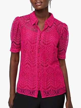 Monsoon Primrose Lace Puff Sleeve Blouse, Pink
