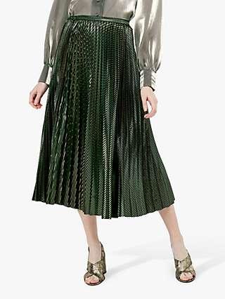 Monsoon Ivy Pleated Skirt, Green