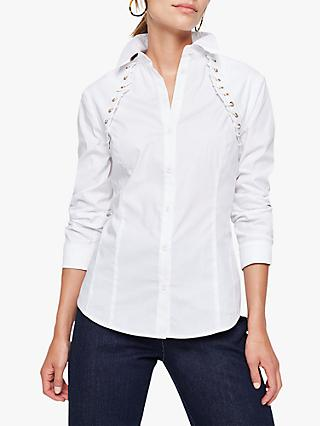 Damsel in a Dress Odile Cotton Blend Eyelet Shirt, Ivory