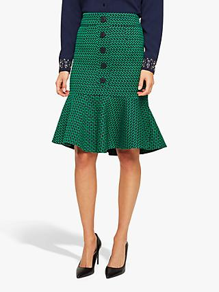 Damsel in a Dress Sabri Tweed Skirt, Green/Navy