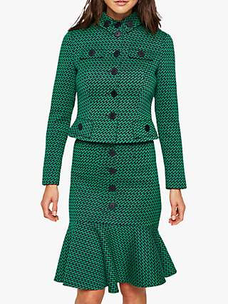 Damsel in a Dress Sabri Tweed Jacket, Green/Navy