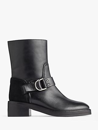 Jigsaw Alstone Biker Leather Ankle Boots, Black