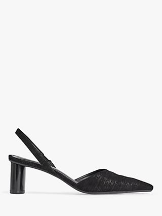 Jigsaw Seren Leather Slingback Party Court Shoes, Black