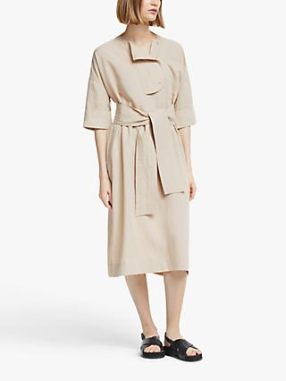Kin Placket Detail Tie Waist Dress, Neutral