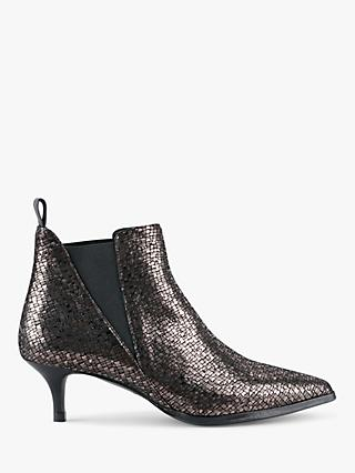 hush Petworth Kitten Heel Leather Slip-On Ankle Boots, Gunmetal