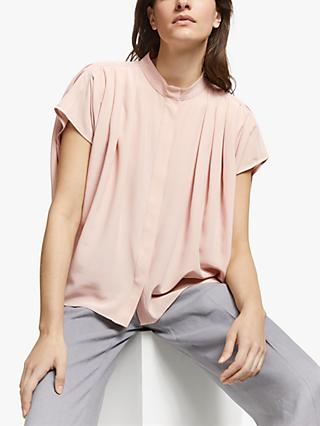 Modern Rarity Pleat Shoulder Silk Blouse, Light Pink