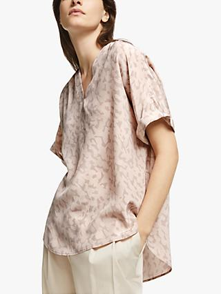 Modern Rarity Brush Mark Silk Top, Pink