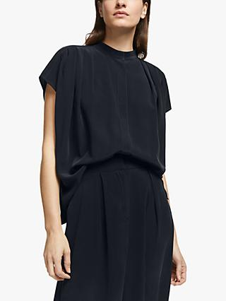 Modern Rarity Pleat Shoulder Silk Blouse, Navy