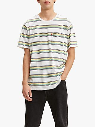Levi's Sunset Pocket Stripe Crew Neck T-Shirt, White Body/Grey