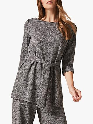 Phase Eight Geneva Waist Tie Tunic Top, Grey