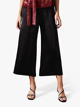 Phase Eight Lenka Wide Leg Cropped Satin Trousers, Black