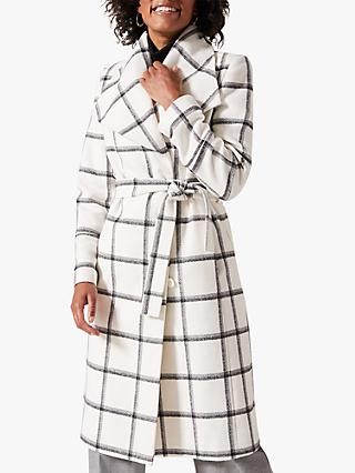 Phase Eight Nicci Belted Check Coat, Ivory/Black