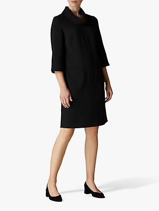 Jaeger Crepe High Collar Dress, Black