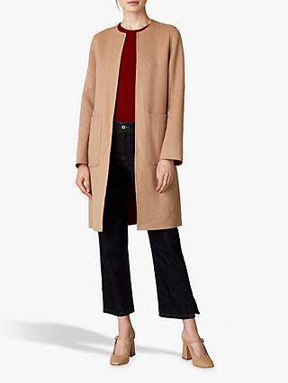 Jaeger Wool Edge To Edge Reversible Coat, Camel