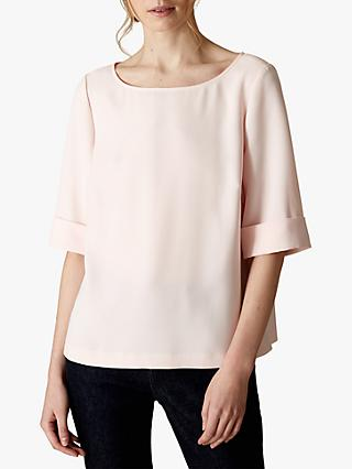 Jaeger Turn Up Cuff Crepe Top, Pink