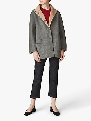 Jaeger Double Faced Wool Reversible Coat, Grey